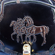 SOLD Italian Tooled Horses & Horse Tack Leather Shoulder Hand Bag