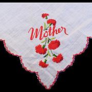 SOLD Vintage Embroidered Mother Floral Hankie Hanky