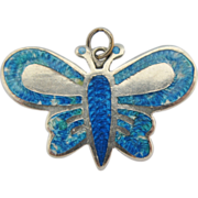 Mexican Sterling Silver Enameled Butterfly Pendant Eagle Mark Signed JF