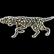 Vintage Sterling Silver Marcasite Hunting Pointer Dog Brooch