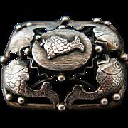 Mid Century Modernist Erikson And Kromann Scandinavian Fish Brooch Denmark 830 Silver