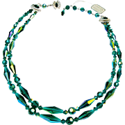 Sherman Teal Aurora Borealis Double Strand Choker Necklace