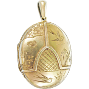 Antique Aesthetic Period Victorian Gold Filled Locket With Engraved Butterfly Birds Bamboo