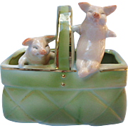 Antique Fairing Two Pink Pigs In A Basket Figurine