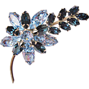 Signed Sherman Light And Sapphire Blue Layered Flower Brooch
