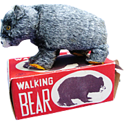 Vintage Modern Toys Japan Walking Bear Wind Up Mechanical Toy With Box