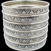 Six BIRKS Sterling Silver Cut Glass Coasters