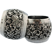 Pair Sterling Silver Ornate Repousse Napkin Rings