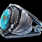 Al Joe Native American Cuff Bracelet Vintage Turquoise Sterling Silver