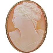 Vintage Cameo Brooch English 9 Karat Gold Double Portrait Left Facing Women