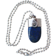 Lapis Lazuli Sterling Silver Modernist Pendant And Chain Necklace
