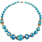 Vintage Asian Carved Flower Turquoise Colored Bead Necklace