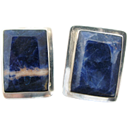 Calderon Atachi Mexican Large Sterling Silver Sodalite Clip Earrings