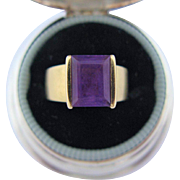 Modernist 10K Gold Amethyst Ring
