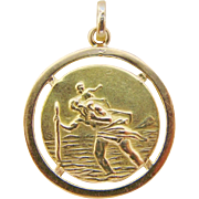 St. Christopher Medal Double Sided 18K Gold Pendant Charm