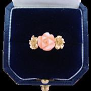 Vintage 14K Gold Carved Angel Skin Coral Floral Ring