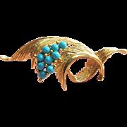 SALE Vintage Turquoise Brooch 14K Gold Elegant 3D Swirls