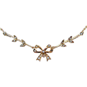 Victorian Lavaliere 10K Gold Seed Pearl Necklace
