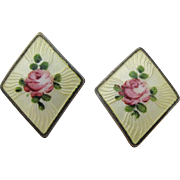 Sterling Silver Enamel Earrings With Pink Roses And Screw Backs