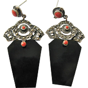 Stunning Sterling Silver Marcasite Faux Coral and Onyx Pierced Earrings
