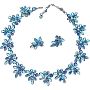 Sherman Blue Rhinestone Earrings And Necklace Demi Parure