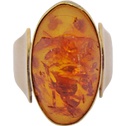 Vintage Amber Ring 8 Kt. 333 Yellow Gold Size 4 1/2