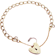 9K Gold Twisted Link Heart Padlock Charm Bracelet Hallmarked London 1960