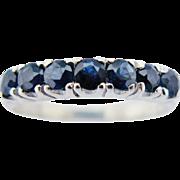 10K White Gold Blue Sapphire Semi Eternity Ring