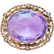 Antique Amethyst Brooch Gold Filled With Large Light Colored Amethyst Gemstone And Seed Pearls