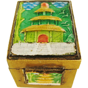 Chinese Vintage Stamp Box Enameled Brass