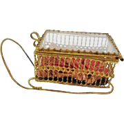 Antique Glass And Open Work Metal Sleigh Trinket Jewelry Box