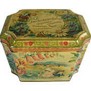 Early Scottish Biscuit Tin John Buchanan Glasgow Four Seasons Flowers Bird Children Butterfly