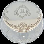 Birks Powder Jar Sterling Silver Crystal Monogrammed R