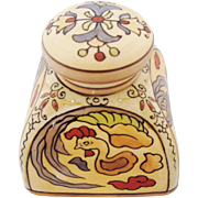 Nippon Inkwell Hand Painted Folk Art Floral And Rooster Motif