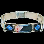 Scandinavian Scenic Bracelet Sterling Silver Enamel Signed H.C. Ostrem Norway Vintage