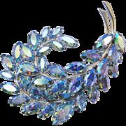 SALE Sherman Feather Brooch Pastel Blue Aurora Borealis Signed Vintage