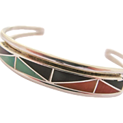 SALE Native American Cuff Bracelet Inlay Sterling Silver Vintage Zuni