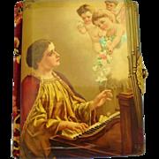 Victorian Celluloid Velvet Photo Album Woman Playing Harpsichord With Cherubs Angels Flowers