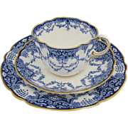 Antique George Jones Crescent Trios Set of Four Blue And White Bone China Cups Saucers ...