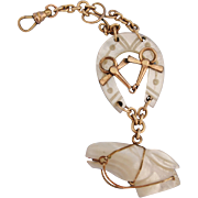 Antique Equestrian Mother of Pearl MOP Gold Filled Watch Fob Pendant