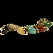 Genuine Oriental Jade Chinese Character Writing 585 14k Gold Link Bracelet