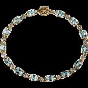 SALE Aquamarine Diamond Tennis Bracelet 10k Plumb Gold Link Aquamarine Bracelet