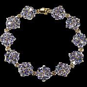 SALE 14ctw Genuine Tanzanite Flower Link Bracelet 10k Gold