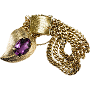 Natural Amethyst Heart Gold Link Bracelet 14k Gold Double Sided Puffy Heart Charm
