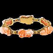 Art Nouveau Hand Carved Angel Skin Coral Roses 18k Gold Designer Bracelet