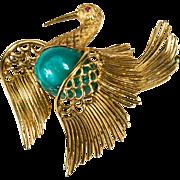 Cartier Wirework Turquoise Ruby Bird 750 18k Gold Brooch