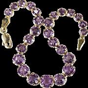 Natural Amethyst Bracelet 14k Gold Amethyst Tennis Bracelet