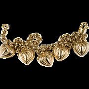 Puffy Repousse Heart Charm Bracelet 14k Gold Belcher Chain