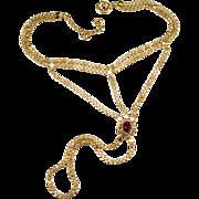 Rare Fuchsia Tourmaline Quartz Rock Crystal Slave Chain Bracelet 19k Gold