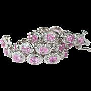 SALE 6.79ctw Sapphire Diamond Bracelet 14k Gold Pink Sapphire Tennis Bracelet